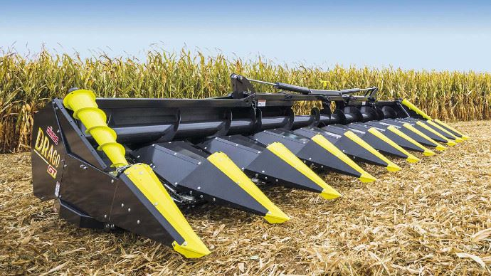 La barre de coupe à maïs Olimac bénéficie de plaques amorties et d'un double broyeur. (©Olimac)