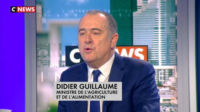 Didier Guillaume sur le plateau de CNews ce 5 décembre 2018 annonce le report des ordonnances de la loi alimentation. (©CNews)