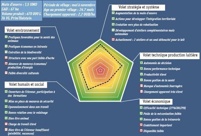 Exemple de scoring de l'outil 2mains. La saisie des données et l'interprétation durent environ deux heures. (©Eurodairy)