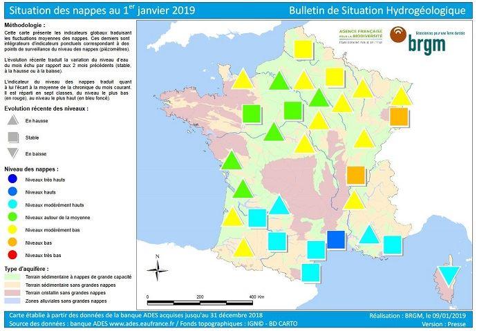Situation des nappes au 1er janvier 2019.