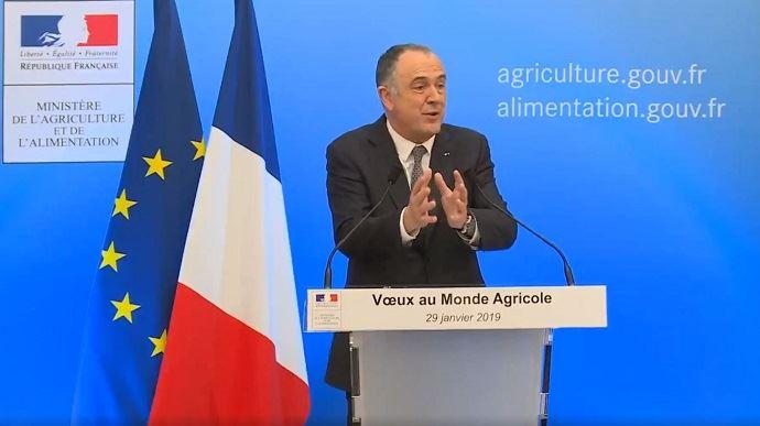 Didier Guillaume, lors de la présentation de ses vœux au monde agricole mardi 29 janvier 2019 en fin de journée. (©TNC)