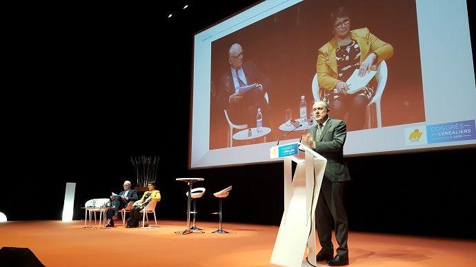 Didier Guillaume, ministre de l'agriculture, est venu clôturer le congrès de l'AGPB, jeudi 14 février 2019 à Compiègne (Oise). (©TNC)