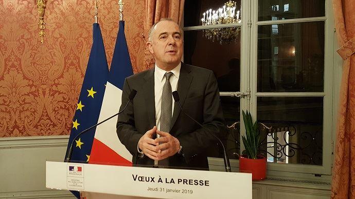 Didier Guillaume, ministre de l'agriculture, lors de la présentation de ses vœux à la presse jeudi 31 janvier 2019. (©TNC)