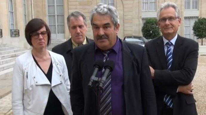 Pierre Thomas, le nouveau président du Modef derrière Jean Mouzat (son prédécesseur) etIsabelle Daugreilh,secrétaire générale adjointe. (©TNC)