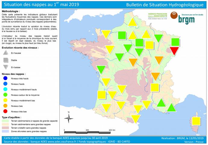 État des nappes phréatiques au 1er mai 2019 selon le BRGM. (©BRGM)
