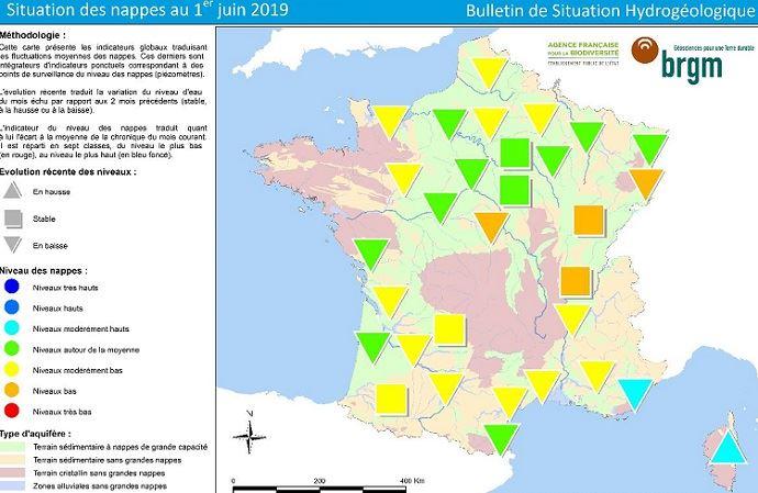 État des nappes phréatiques au 1er juin 2019 selon le BRGM. (©BRGM)