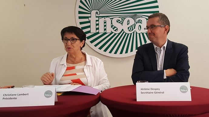 Christiane Lambert et Jérôme Despey, lors de la conférence de presse de rentrée de la FNSEA, mercredi 4 septembre. (©TNC)
