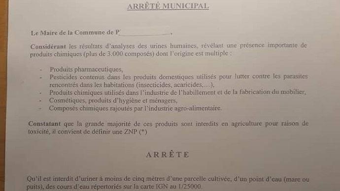 Extrait de l'arrêté municipal de Prudemanche, dans l'Eure-et-Loir, interdisant d'uriner à moins de cinq mètres des champs. (©TNC)