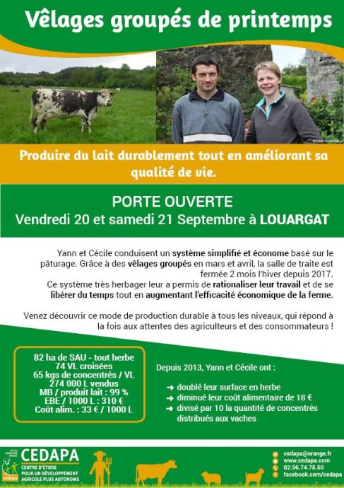 Porte ouverte d'un élevage des Côtes d'Armor en vêlages groupés et 100% herbe. (©Cedapa)