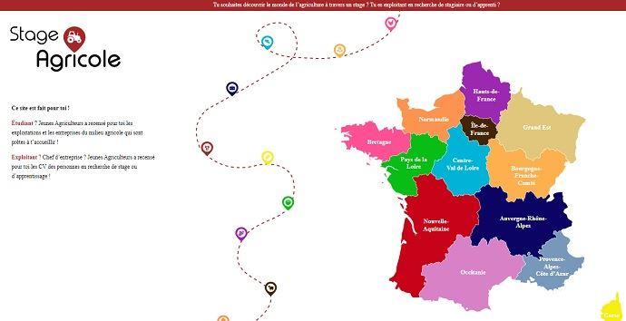 Le site web s'ouvre sur une home page commune à toute la France avec unecarte interactiverenvoyant sur chaque plateforme régionale, conçue sur le même modèle. (©Jeunes Agriculteurs)