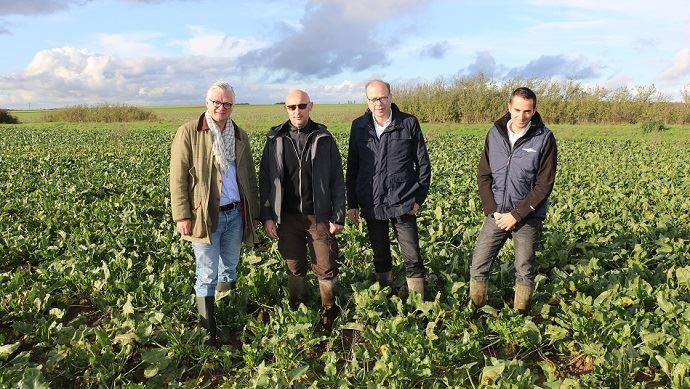 De gauche à droite: Ludovic Brasset, directeur commercial de Cristalco,Gilles Roussin, agriculteur, Bruno Labilloy, directeur agricole de Cristal Union et Pierre Lesage, responsable agronomique pour le secteur Sud Bassin Parisien. (©TNC)