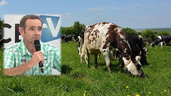 Fabrice Charles, éleveur laitier des Côtes d'Armor témoigne: «En 10 ans, on est quand même passé d'un système intensif à toute autre chose! On divise notre temps de travail par 2, voire par 3 selon la période» (©TNC)