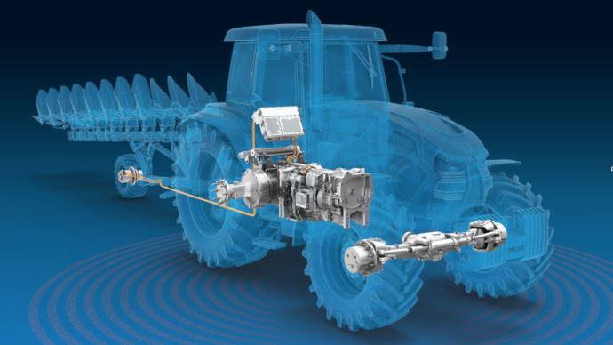 ZF intègre un générateur électrique dans sa transmission à variation continue TerraMatic pour alimenter l'outil. (©ZF)