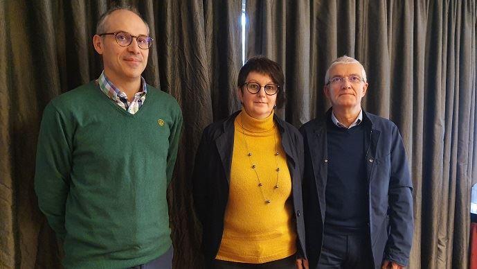 Les représentants de la Coordination rurale - Damien Brunelle, Yvette Lainé et Bernard Lannes, mercredi 15 janvier 2020 à Paris. (©TNC)