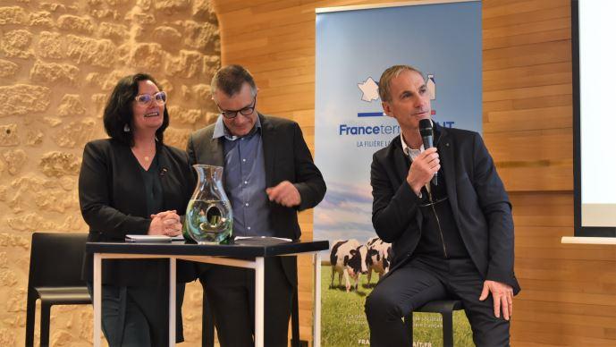 Lancement de France Terre de Lait, avec Marie-Thérèse Bonneau, Damien Lacombe et Thierry Roquefeuil. (©TNC)