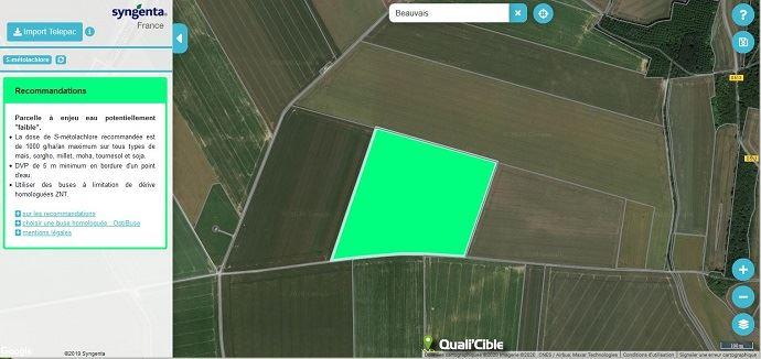 Sur les périmètres d'aire d'alimentation de captages prioritaires et zones sensibles, Syngenta préconise de ne pas utiliser d'herbicide à base deS-métolachlore. (©Capture d'écran du site Quali'Cible de Syngenta)