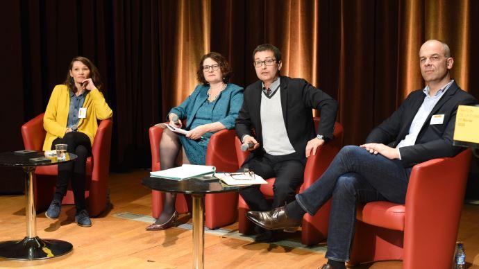 Controverses de l'agriculture et de l'alimentation, avec Cécile Leuba, de Greenpeace, à gauche, et Arnaud Rousseau, de la Fop, à droite. (©TNC)