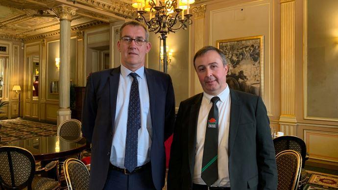 Jean-Pierre Bonnet, à gauche, et Jean-Marc Escure, respectivement président et directeur de Limousin Promotion, lors de la conférence de presse à Paris le 12 février 2020. (©TNC)