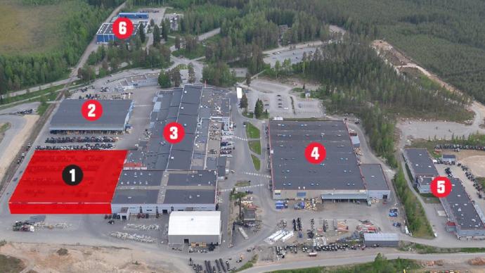 1. Centre logistique / 2. Studio Unlimited / 3. Usine d'assemblage / 4. Usine de transmissions / 5. Bureau d'études / 6. Centre d'entretien et de pièces détachées (©Valtra)