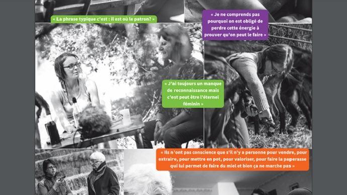 Extrait de l'expo photos et des affiches conçues suite au travail du groupe de productrices des Civam de de l'Ardèche et de la Drôme. De beaux visuels mettant en avant l'importance des femmes en agriculture qui contrastent avec leurs citations montrant qu'elles doivent encore lutter pour trouver leur place. (©Civam Drôme et Ardèche)