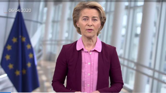 La présidente de la Commission européenne, Ursula von der Layen, a annoncé le 6 avril de nouvelles mesures pour les agriculteurs en cette période de pandémie. (©capture d'écran Commission européenne)