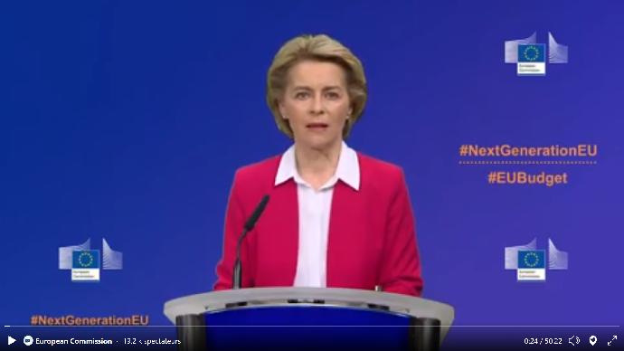 La présidente de la Commission européenne, Ursula Von der Layen, a présenté le 27 mai un plan de relance et des budgets supplémentaires suite à la pandémie de Covid-19 (©capture d'écran Commission européenne)