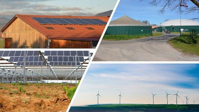 Selon le rapport, le secteur agricole, avec au moins 50000 exploitations concernées, assure déjà 20% de la production d'énergies renouvelables: soit 3,5% de la production nationale d'énergie. (©Pixabay, Sun'R et TNC)