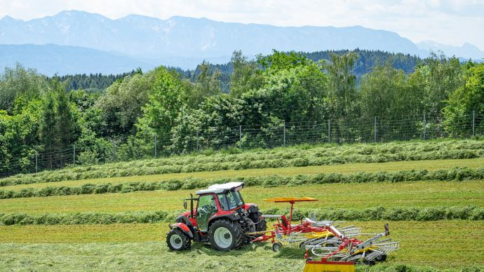 L'andaineur double rotor traîné de Pöttinger suit le terrain grâce à ses roues jockey. (©Pöttinger)