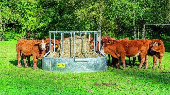 Patura présente son nouveau râtelier circulaire 15 places pour bovins anti-gaspillage de fourrage. (©Patura)
