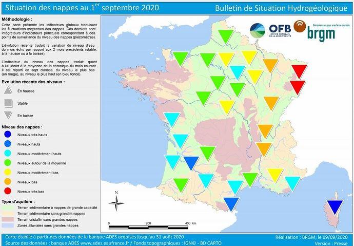 État des nappes phréatiques au 1er septembre 2020. Cliquez sur la carte pour l'agrandir. (©BRGM)