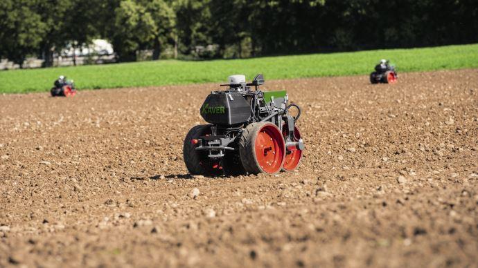 Fendt a dévoilé la dernière génération de son projet de robots agricoles baptisé Fendt Xaver. (©Fendt)
