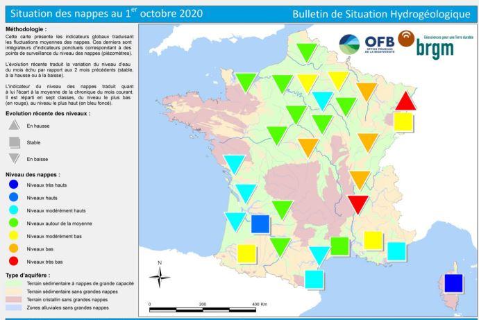 Etat des nappes phréatiques au 1er octobre 2020. (©BRGM)