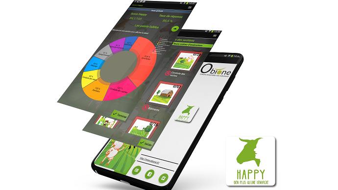 L'appli Happy notes enregistre toutes les données quotidiennes concernant la conduite du troupeau et aboutit à un score final puis met en évidence les points forts et ceux à améliorer. (©Obione)
