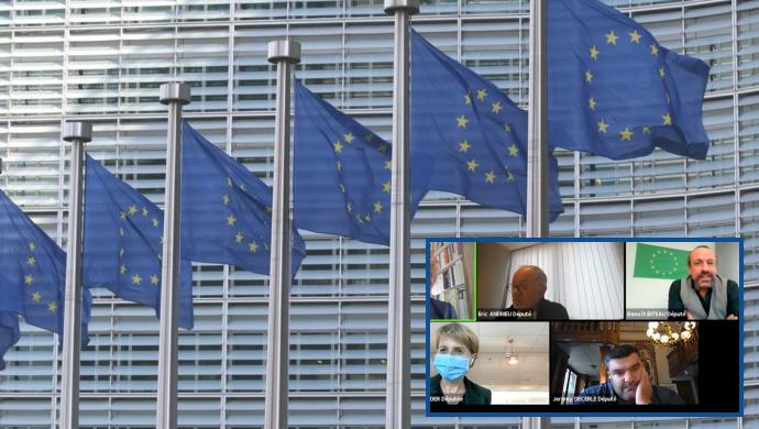 Les eurodéputés Anne Sander, Éric Andrieu, Jérémy Decerle et Benoit Biteau ont échangé le 15 octobre sur la Pac post-2020 (©TNC)