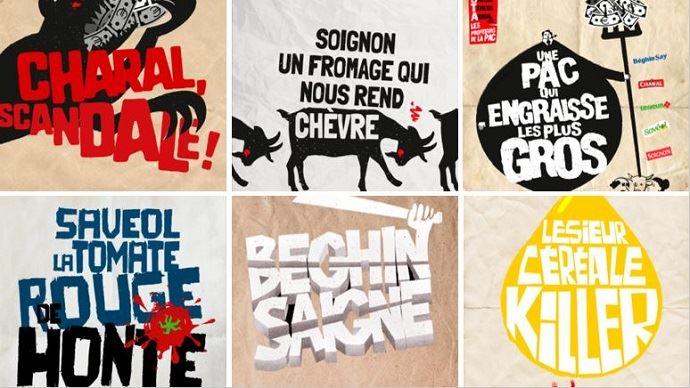 Affiches et slogans de la campagne de communication «Basta» lancée par la plateforme «Pour une autre Pac» qui souhaite dénoncer l'accaparement des aides de la Pac par les groupes agroalimentaires.(©