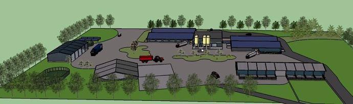 La future station expérimentale en veaux de boucherie avec les trois modules de bâtiments. (©Idele)