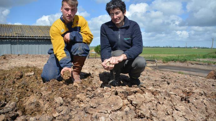Vincent Groizleau (à gauche) a testé une nouvelle couverture pour son silo de maïs: les céréales aliplusées. Un mélange conçu par Samuel Michaud (à droite) totalement hermétique et comestible par le troupeau. (©TNC)