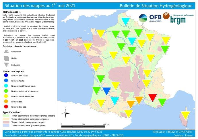 État des nappes phréatiques au 1er mai 2021. (©BRGM)