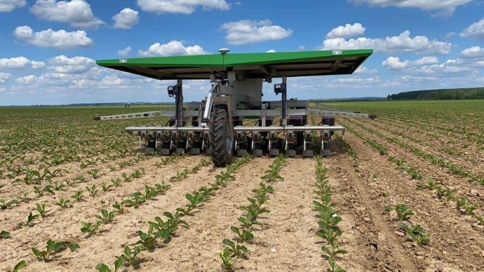 Le robot FarmDroïd utilise les signaux GPS RTK pour le semis et le binage, il ne dispose d'aucune caméra. La corde rouge tout autour de l'appareil permet la détection d'obstacles. (©Raphaël Deneuville)
