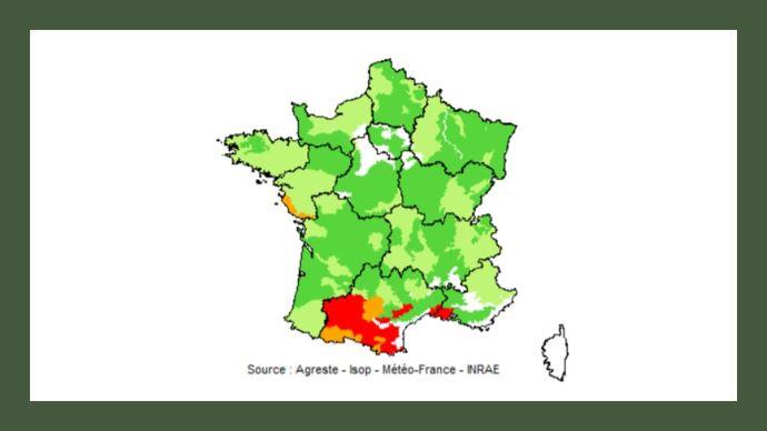 Pousse de l'herbe au 20 juillet 2021: En rouge: déficit important (75% et moins) ; En orange: déficit faible (de plus de 75% à 90%) ; En vert clair: normale (de plus de 90% à 110%) ; En vert foncé : excédent (plus de 110%). (©Agreste)