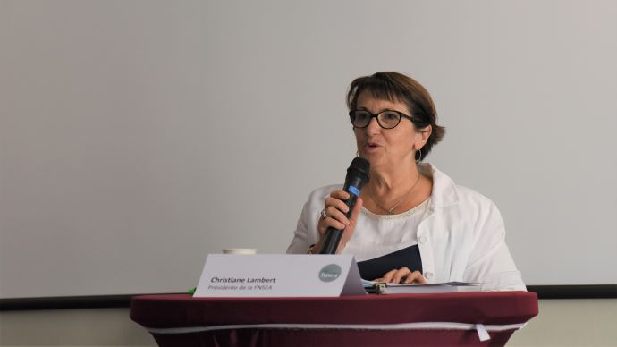 Christiane Lambert, lors de la conférence de presse de rentrée de la FNSEA le 2 septembre. (©TNC)