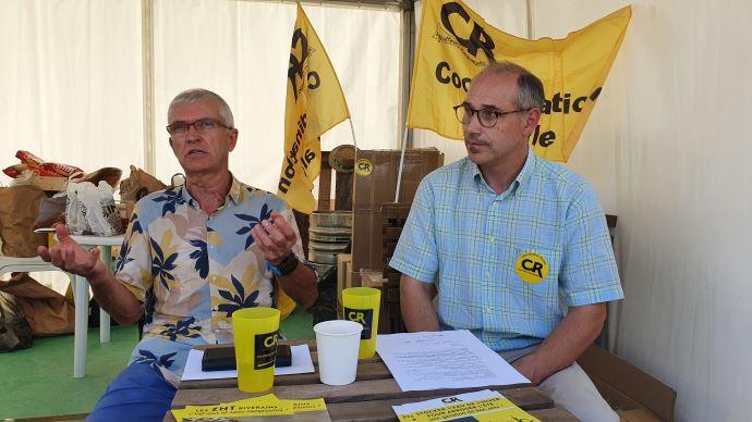 Bernard Lannes et Damien Brunelle, respectivement présidents de la Coordination rurale et de France grandes cultures, mercredi 8 septembre à Innov-agri. (©TNC)